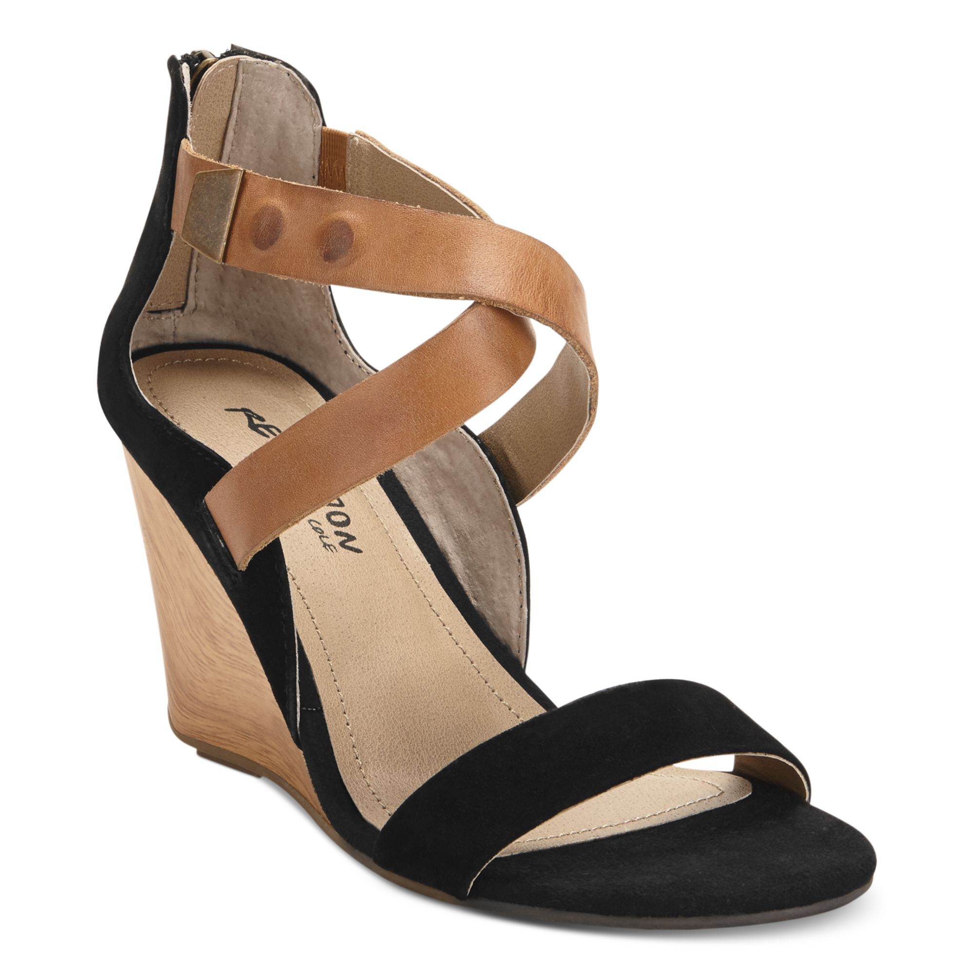 f6345adf6aa7 Lyst - Kenneth Cole Reaction Oh Ava Wedge Sandals in Black