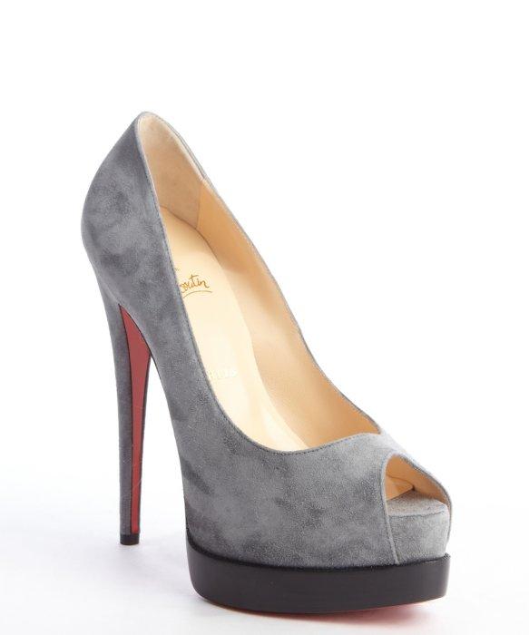 christian louboutin grey peep-toe pumps