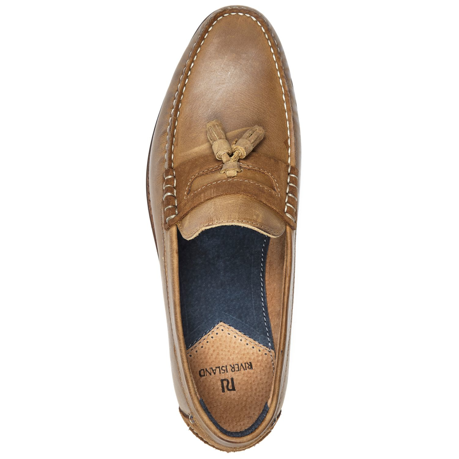 5db391fd2dc6 River Island Brown Leather Heavy Sole Tassel Shoes in Brown for Men ...
