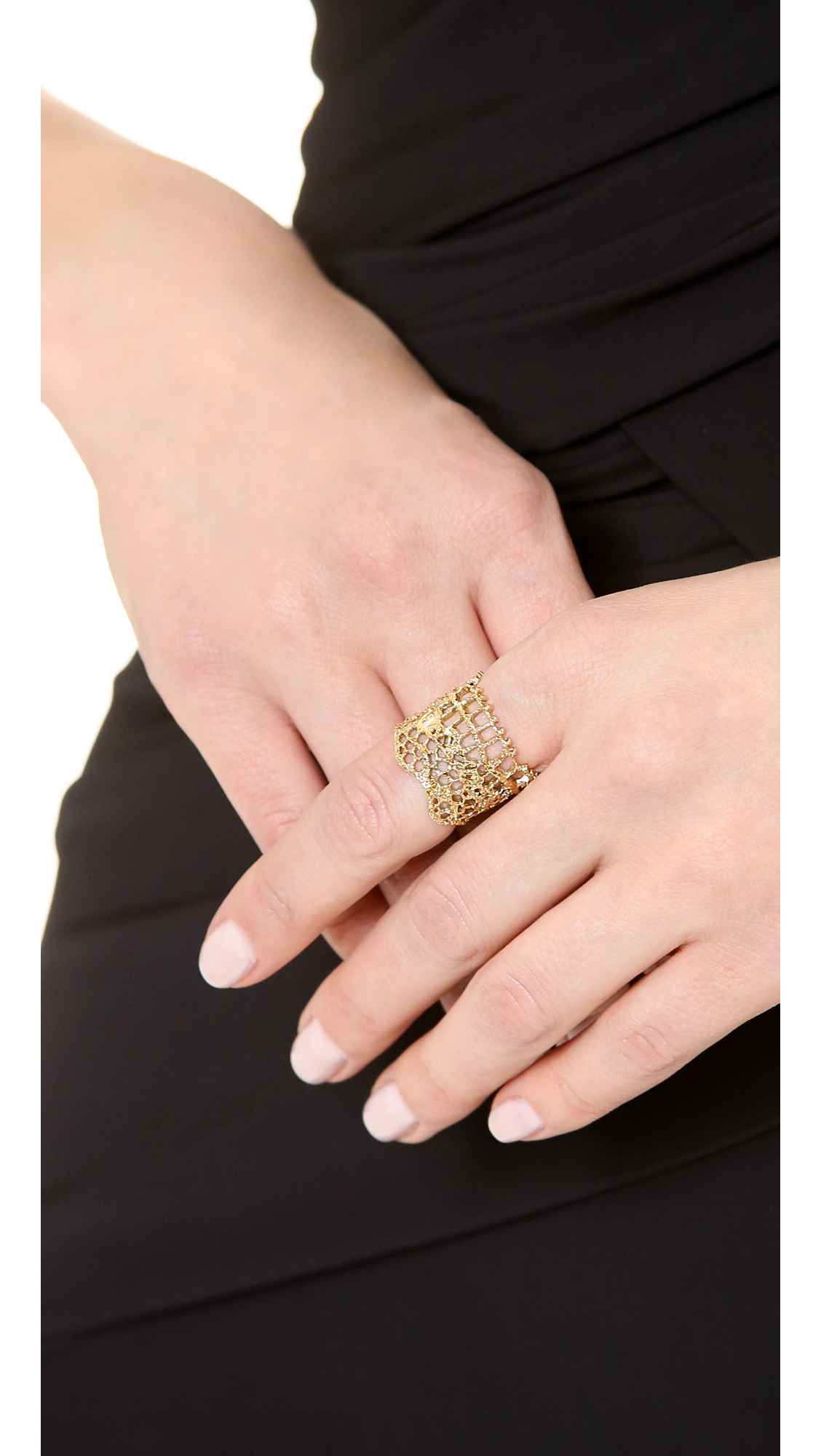 Aurelie Bidermann Vintage Lace Ring Gold In Metallic Lyst