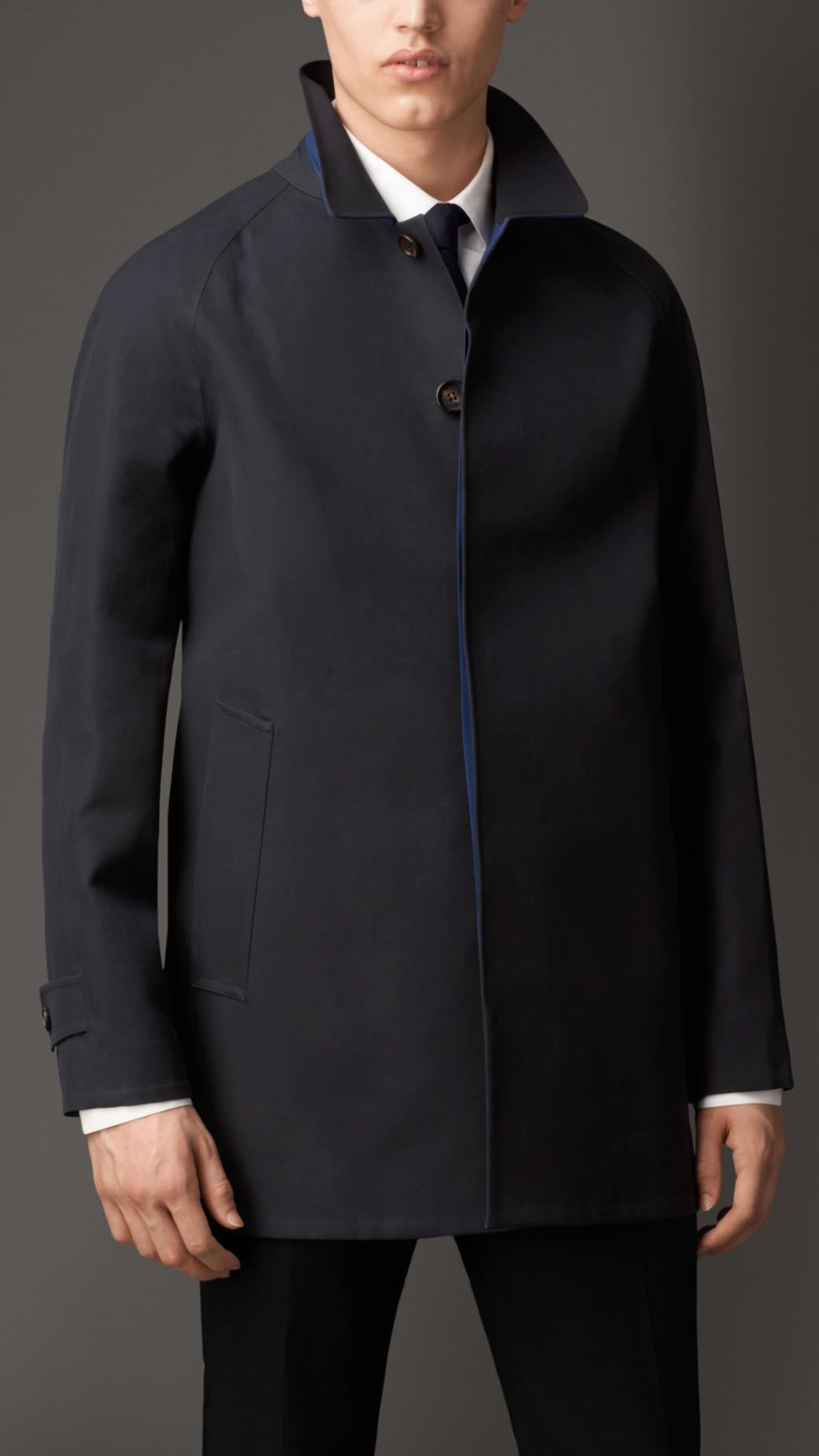 Burberry Seamsealed Cotton Car Coat in Blue for Men | Lyst