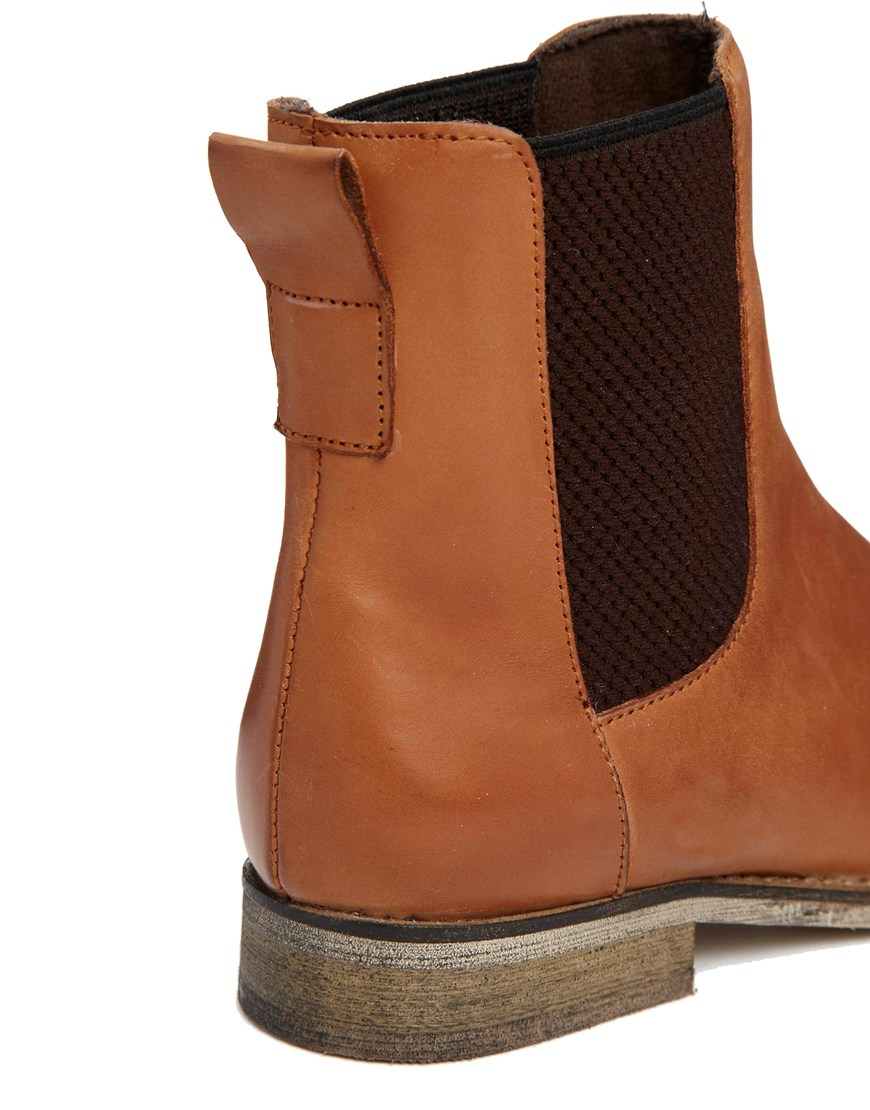 1b1991925835e5 Lyst - ASOS Au Revoir Leather Chelsea Ankle Boots in Brown