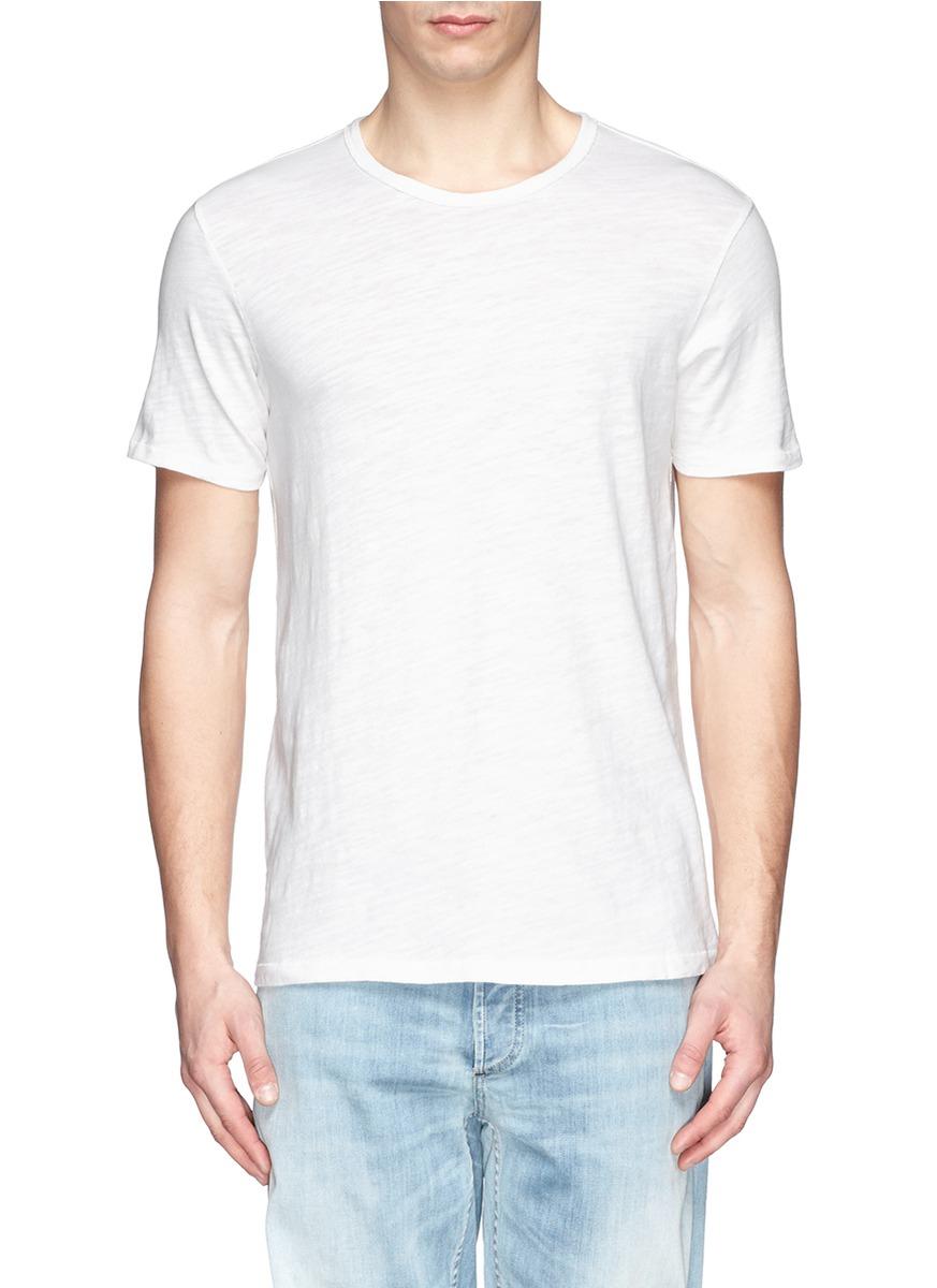 Rag bone basic cotton t shirt in white for men lyst for Rag and bone t shirts