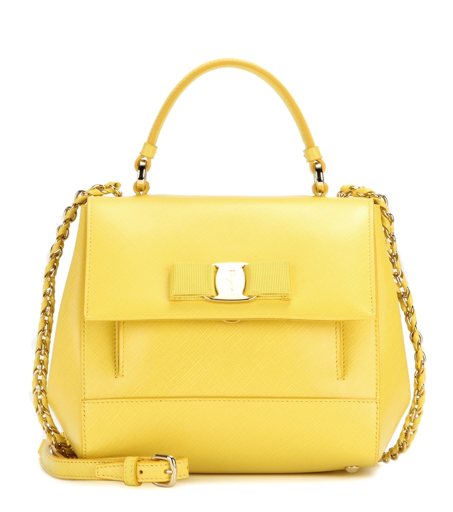 2c68270ef2 Lyst - Ferragamo Carrie Leather Shoulder Bag in Yellow