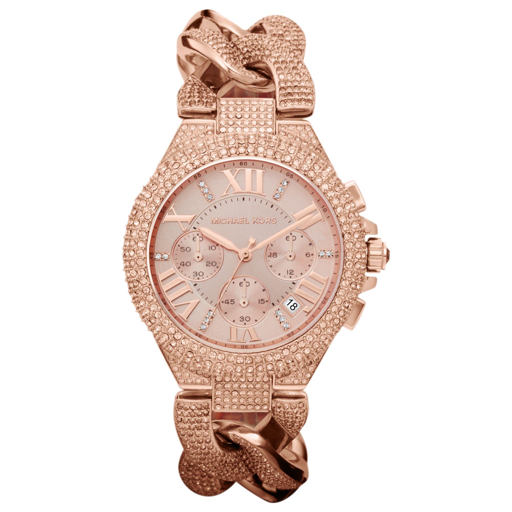 michael kors womens chronograph camille rose goldtone. Black Bedroom Furniture Sets. Home Design Ideas