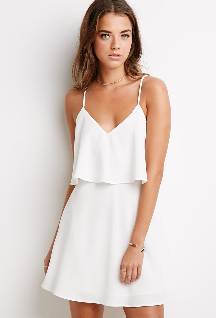 forever 21 flounce cami dress in white  lyst