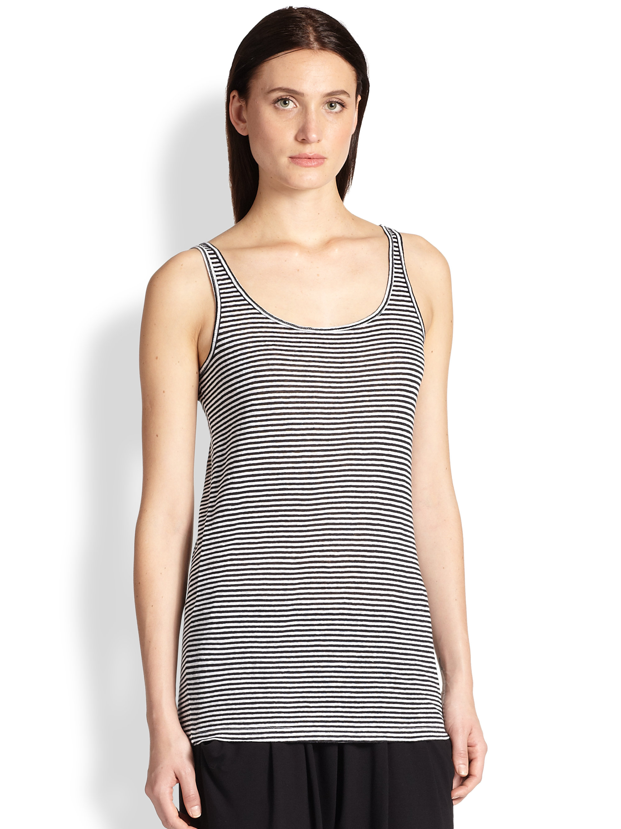 dacb65c7c1f Lyst - Eileen Fisher Striped Organic Linen Tank in Black