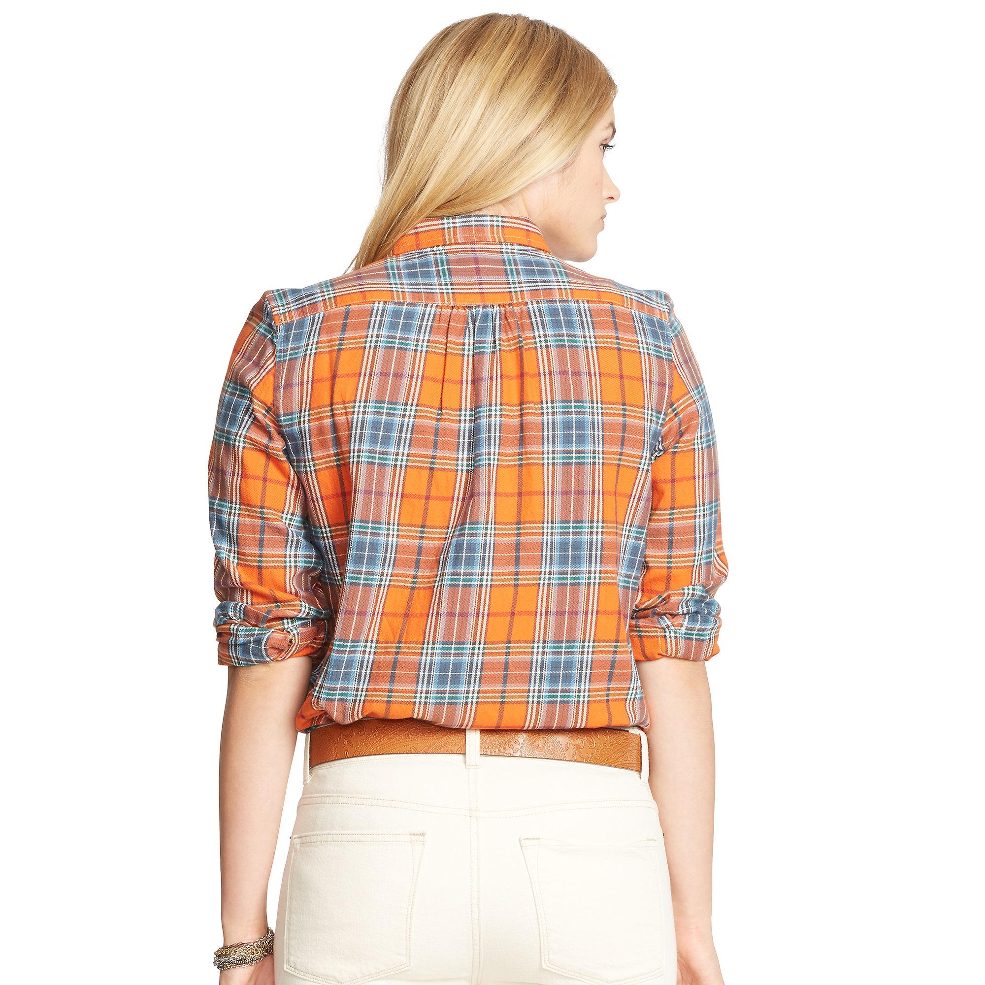 Ralph Lauren Plaid Cotton Twill Workshirt In Orange Lyst