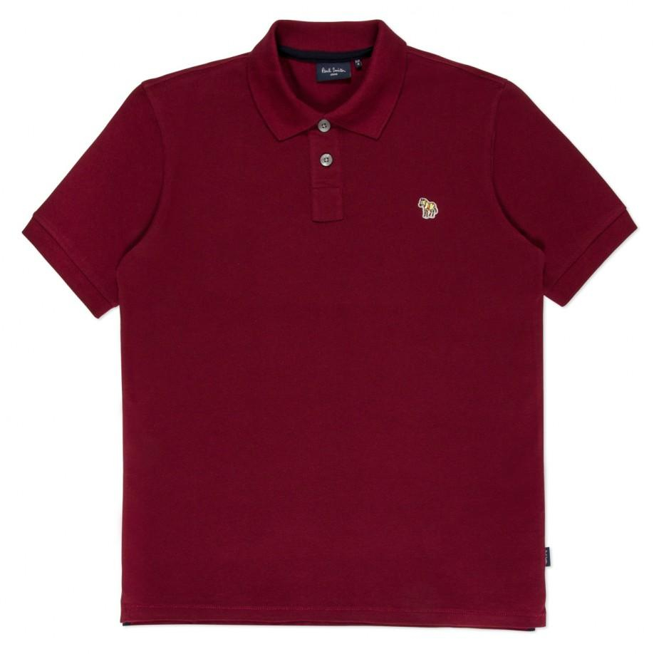 Lyst paul smith men 39 s burgundy organic cotton zebra logo for Polo shirts with logos