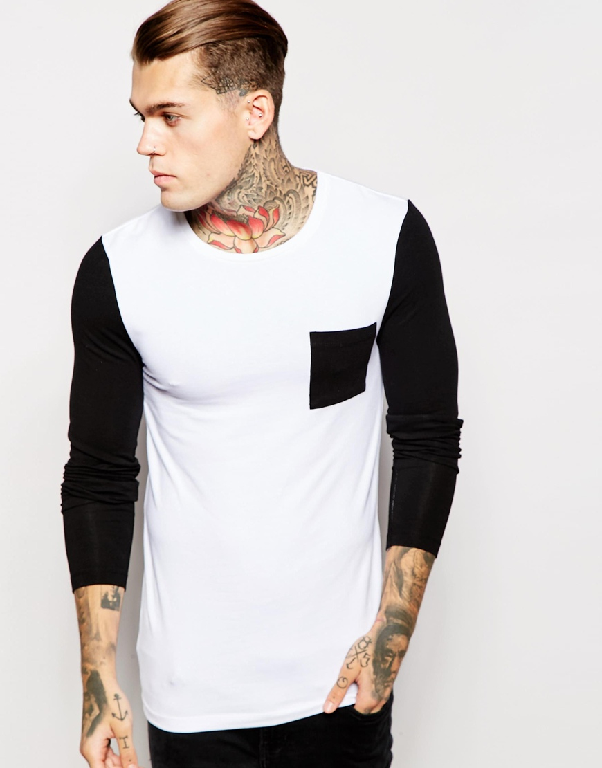bcd29dd62 ASOS Extreme Muscle Long Sleeve T-shirt With Contrast Pocket And ...