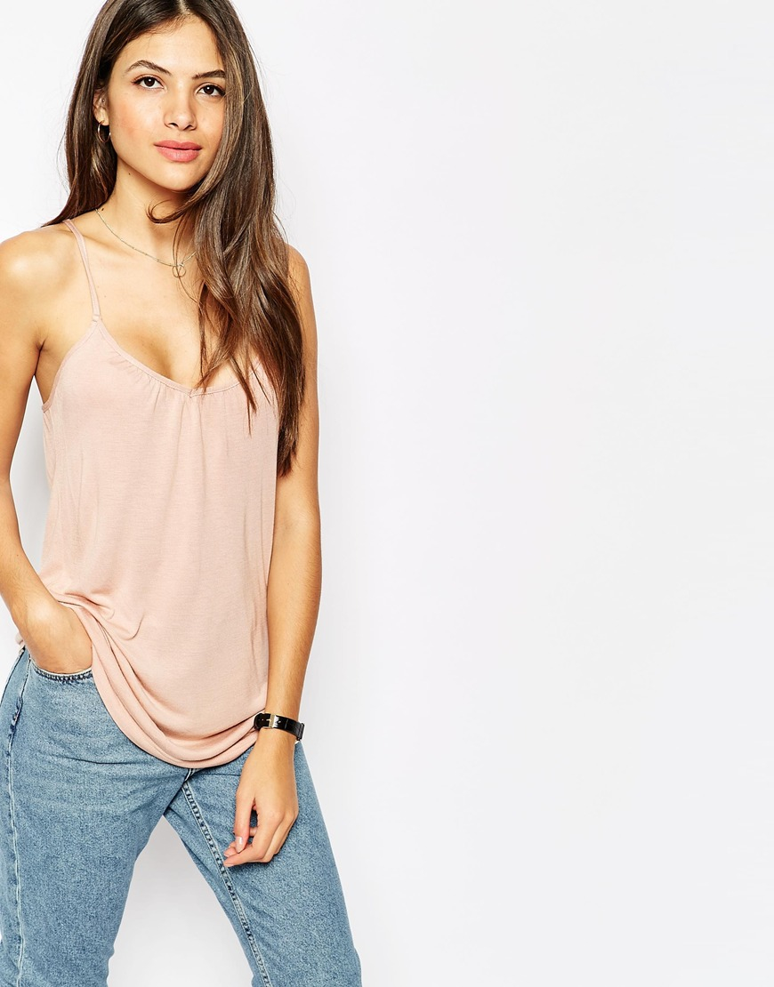 aa6e922d12c508 Lyst - Vero Moda Cami Top With Sequin Back Panel in Pink