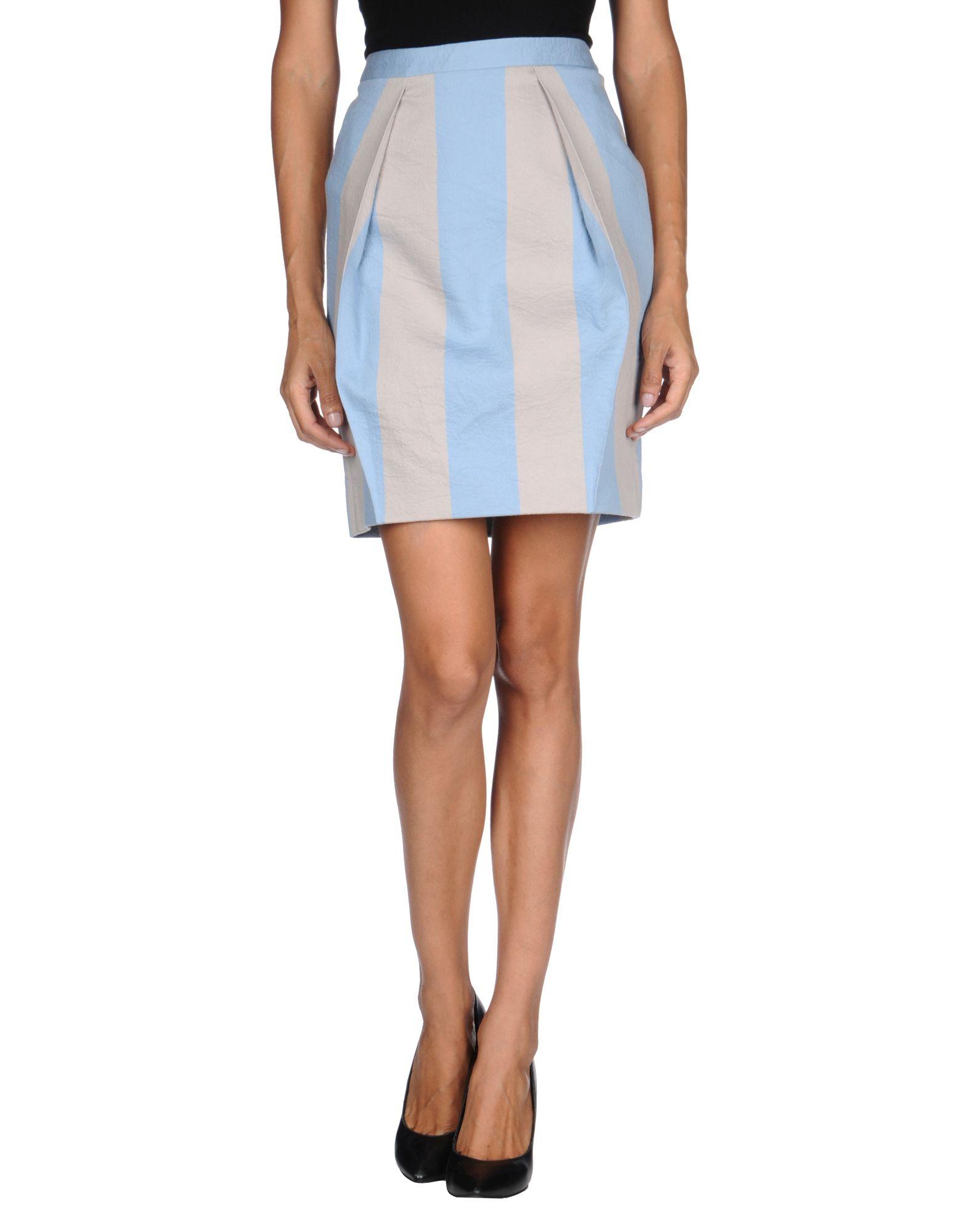 jil sander navy knee length skirt in blue sky blue