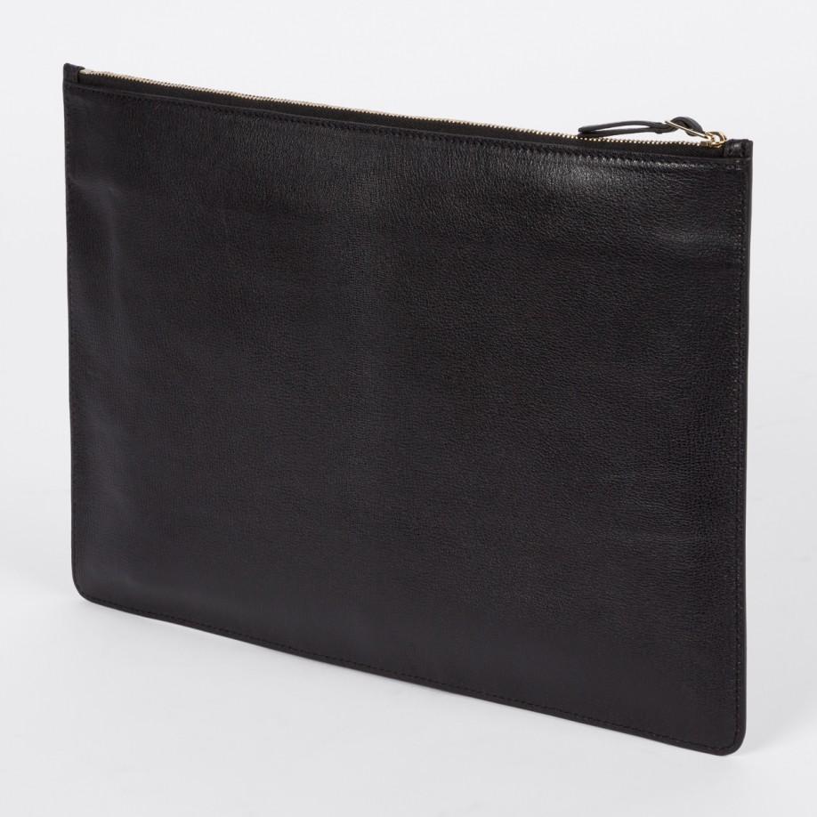 paul smith men39s black italian leather document pouch in With mens leather document pouch