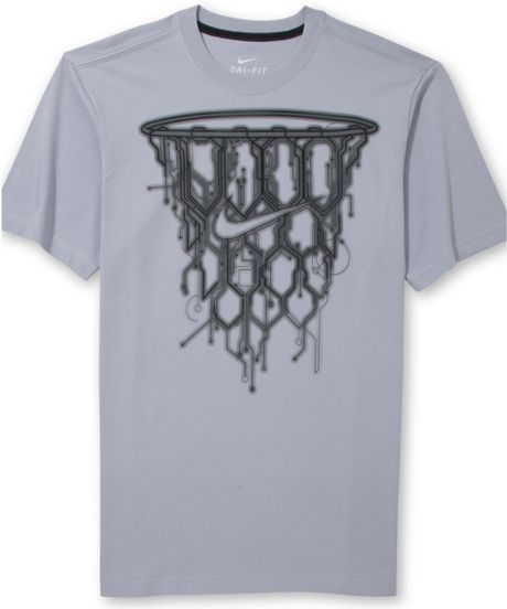 Nike basketball net graphic tshirt in gray for men wolf for I love basketball nike shirt