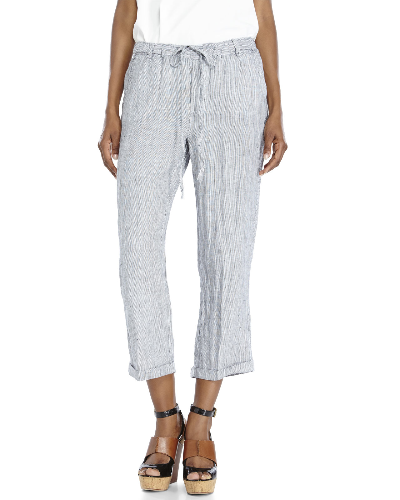 Philosophy Striped Linen Crop Pants in Gray | Lyst
