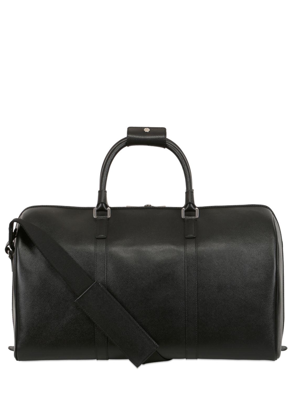 812b79113d90 Lyst - Serapian Saffiano Leather Duffle Bag in Black for Men