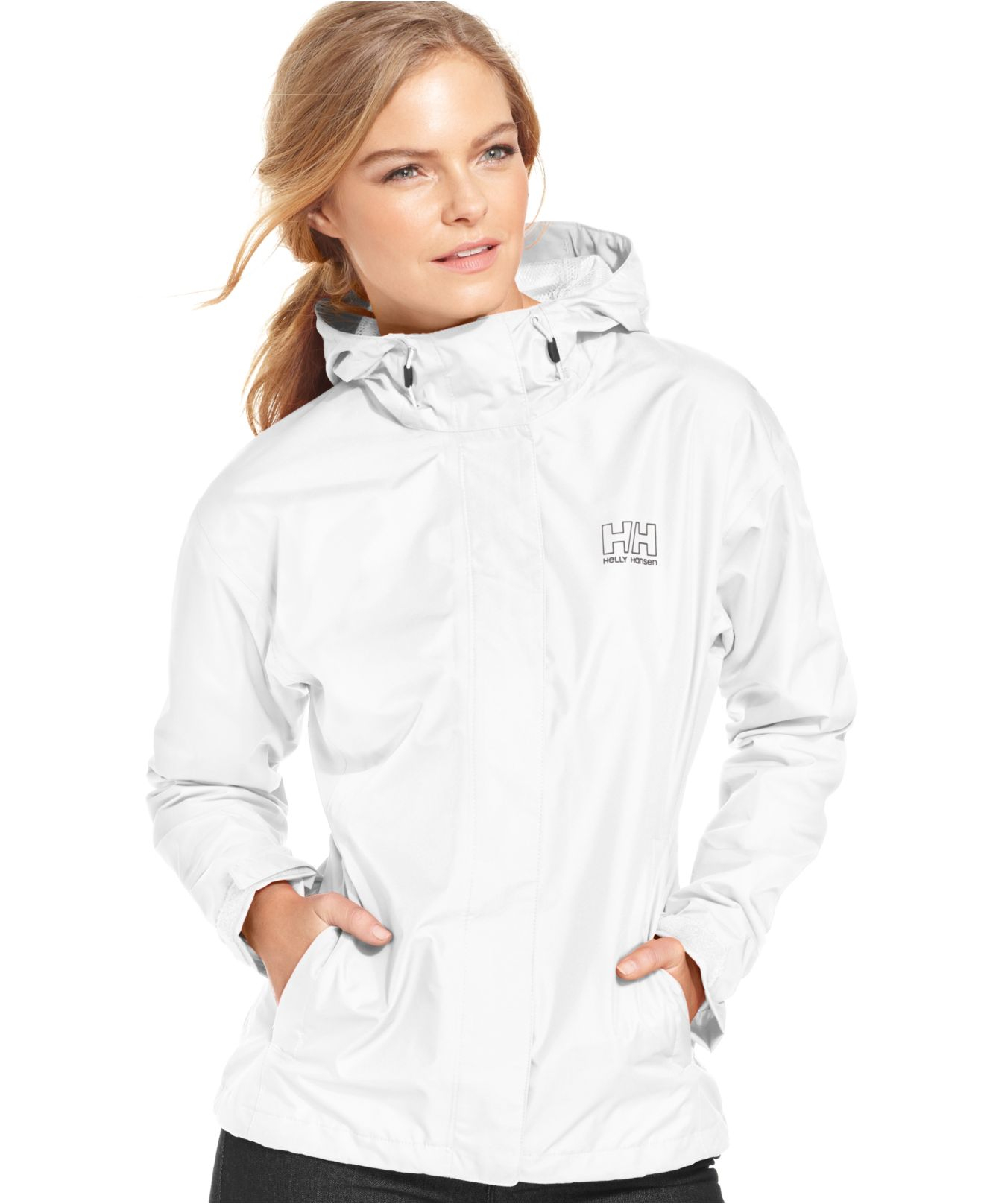 Helly hansen Seven J Hooded Rain Jacket in White | Lyst