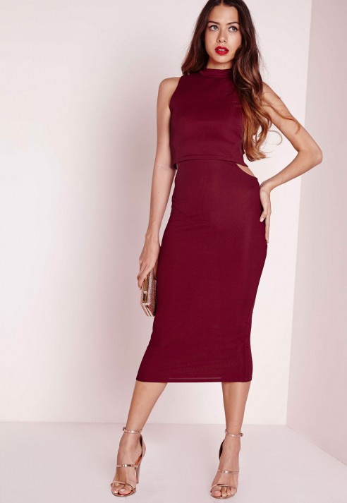 1d4878eb9f6a Lyst - Missguided Ribbed High Neck Cut Out Midi Dress Burgundy in Purple