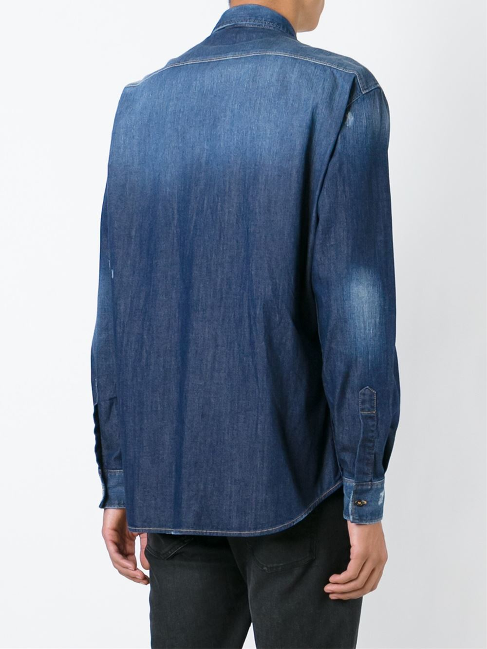 Lyst dsquared² flower embroidered denim shirt in blue