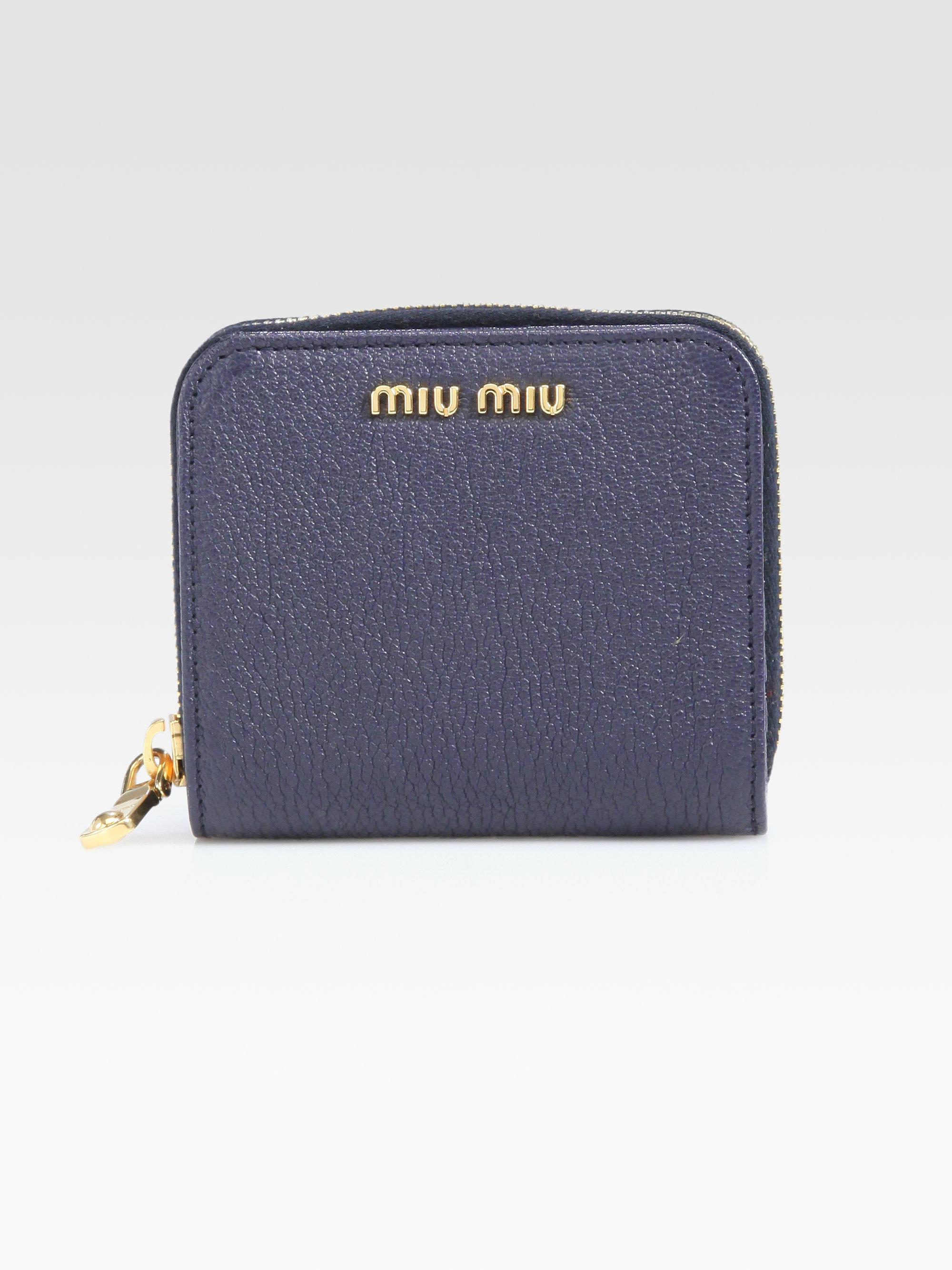 707d2be4c2f Lyst - Miu Miu Madras Ziparound Leather Wallet in Blue