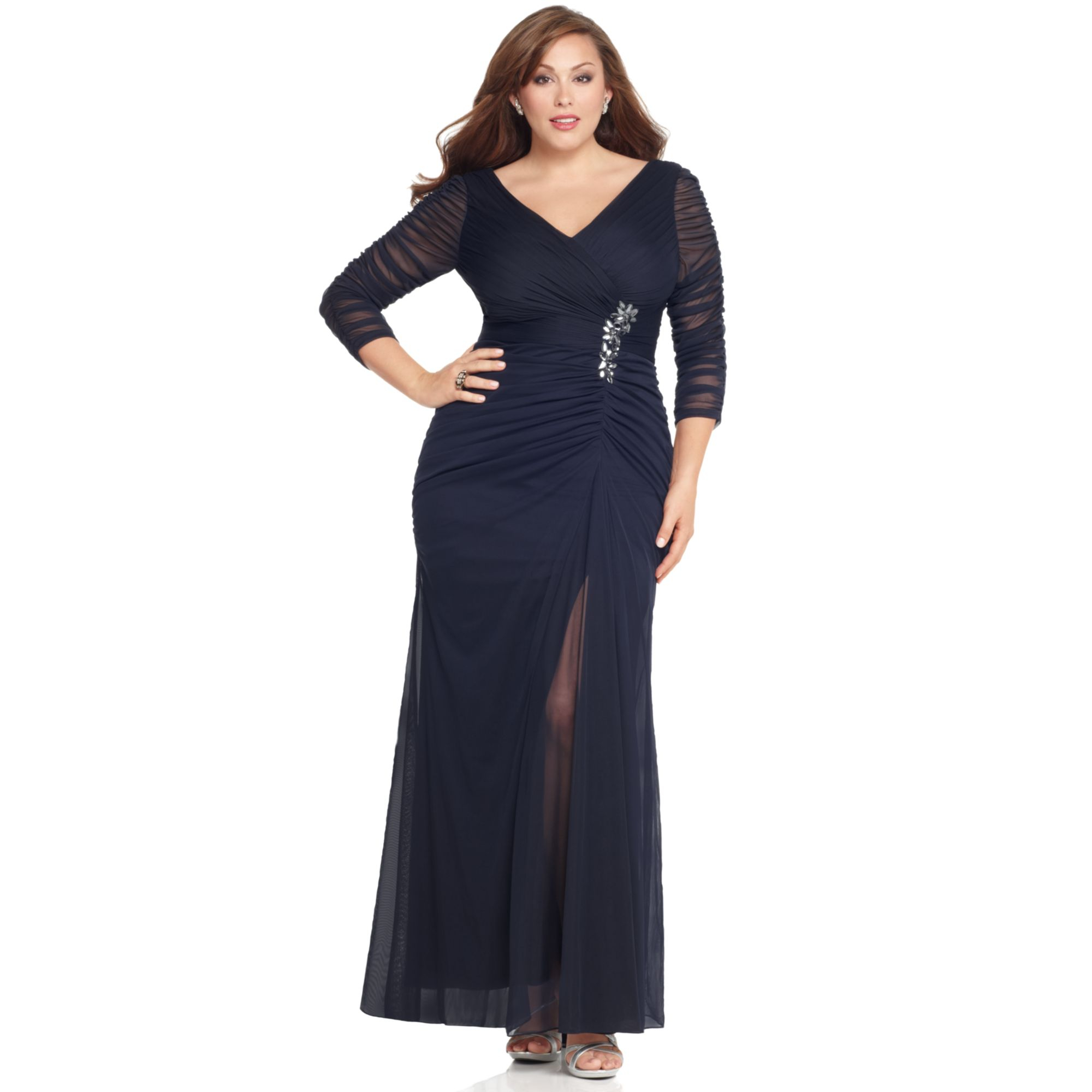papell plus size three quarter sleeve ruched gown - Heart.impulsar.co