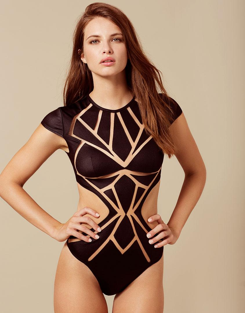 Agent Provocateur Dani Swimsuit Black And Nude in Black - Lyst 2c8a02bb2