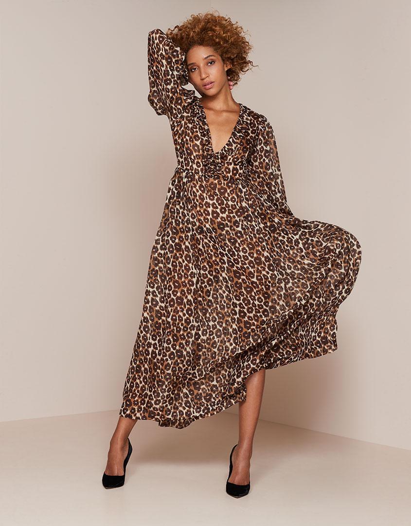 0a8dc42008 Agent Provocateur Novak Long Dress Brown Leopard Print in Brown - Lyst