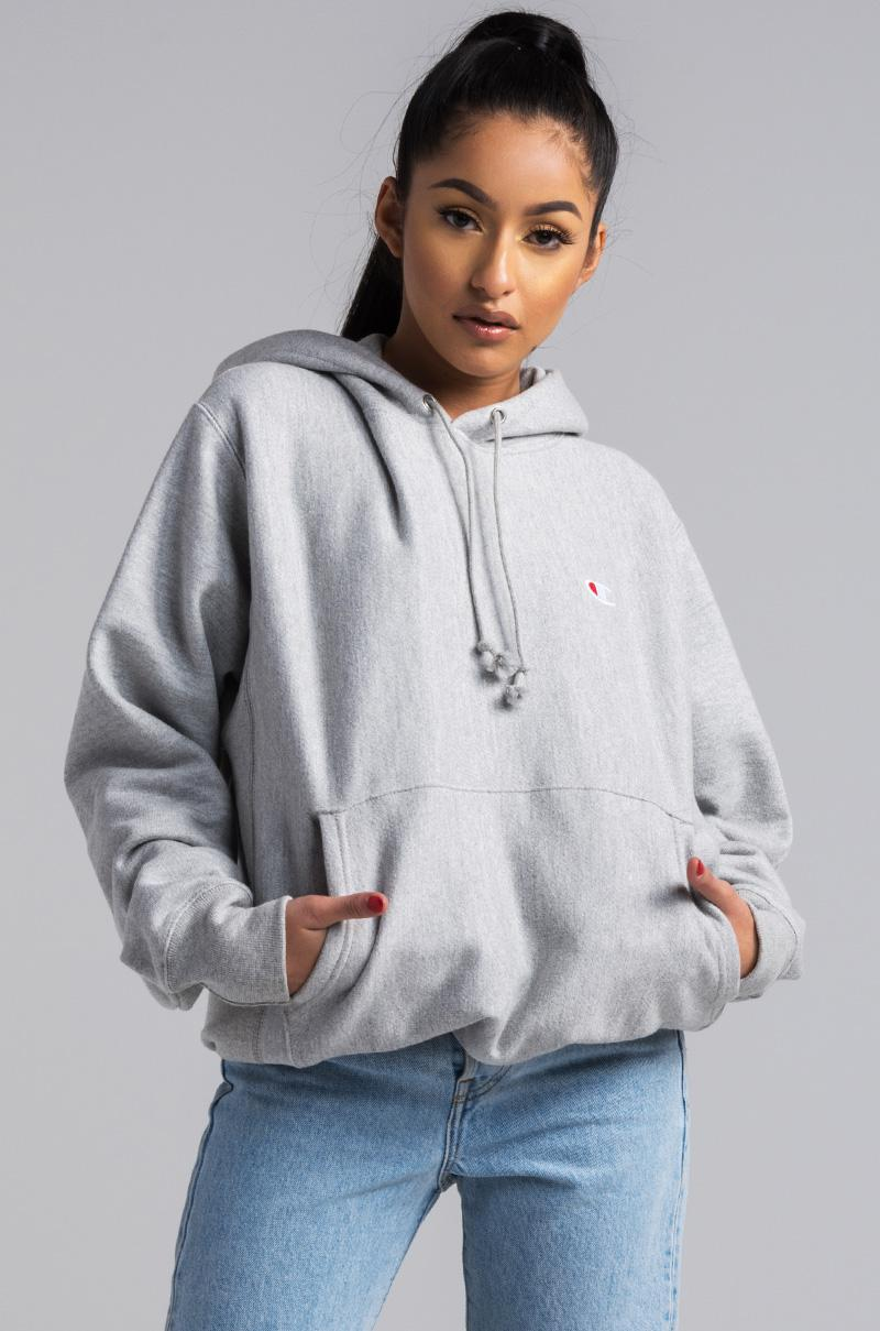 Lyst - Champion Reverse Weave Pullover Hoodie in Gray cd734b7b4aba