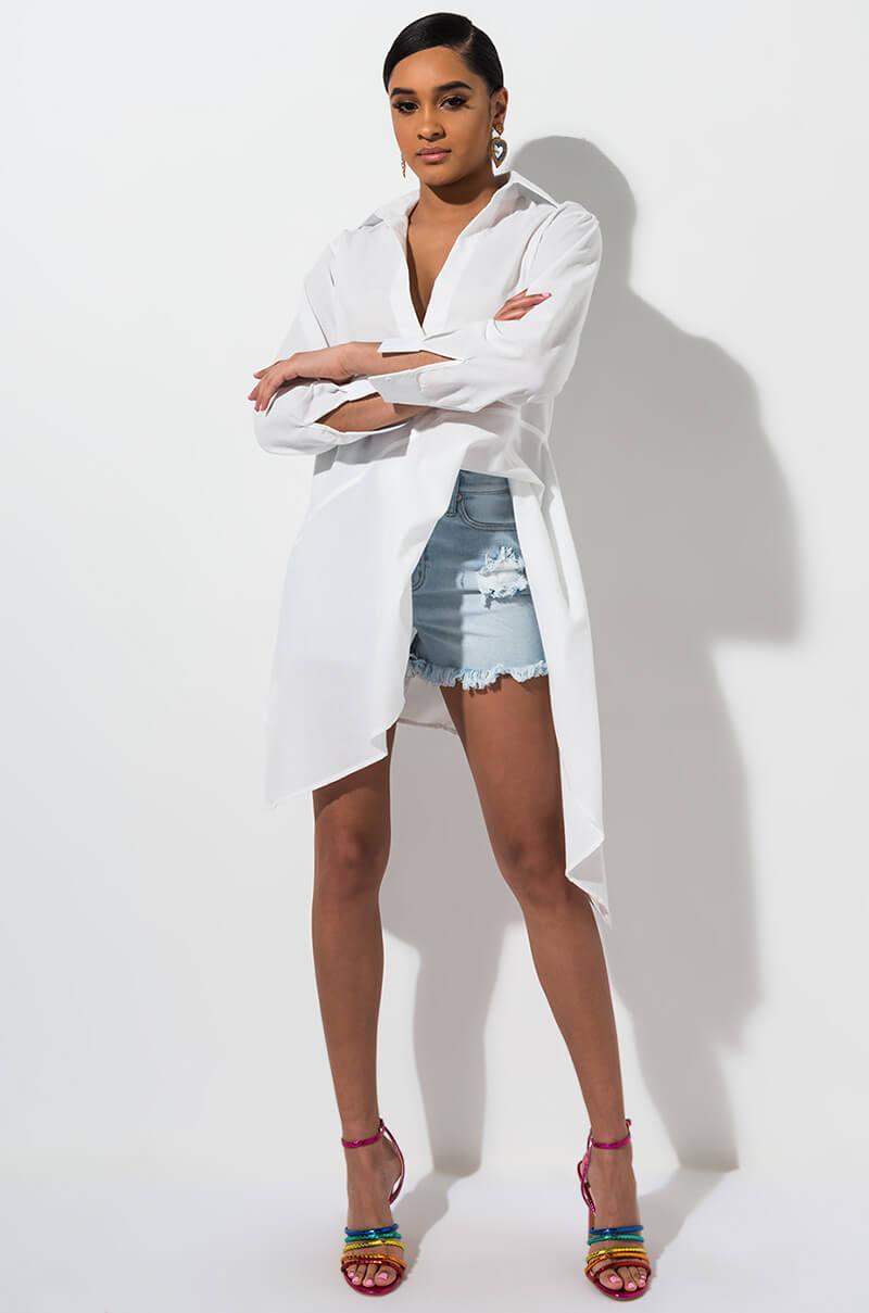 8b3d589164 Akira - White Touch My Body Sexy Sheer Shirt Dress - Lyst. View fullscreen