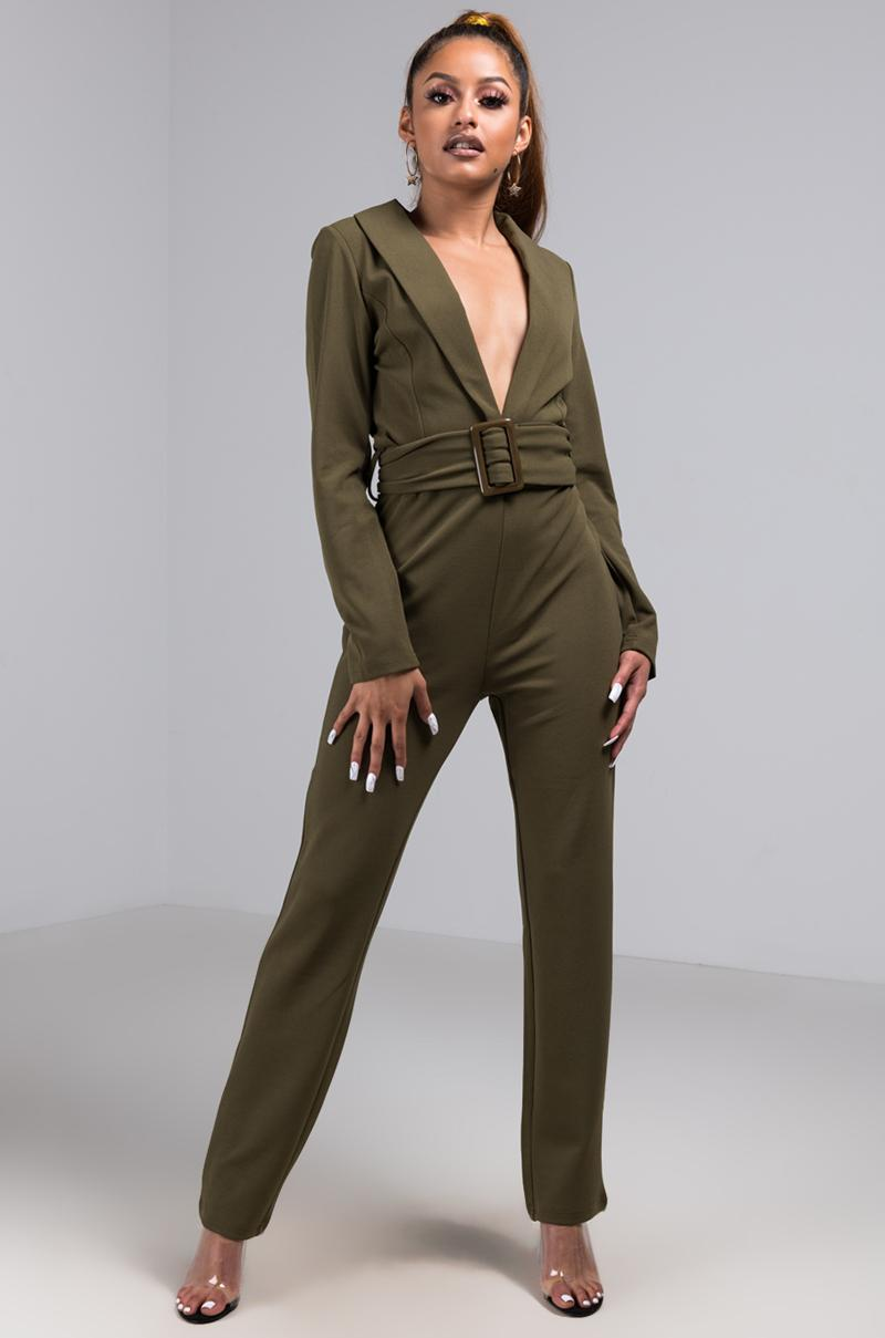 43caee7d321 Lyst - Akira Unbothered Plunging Long Sleeve Belted Jumpsuit in Green