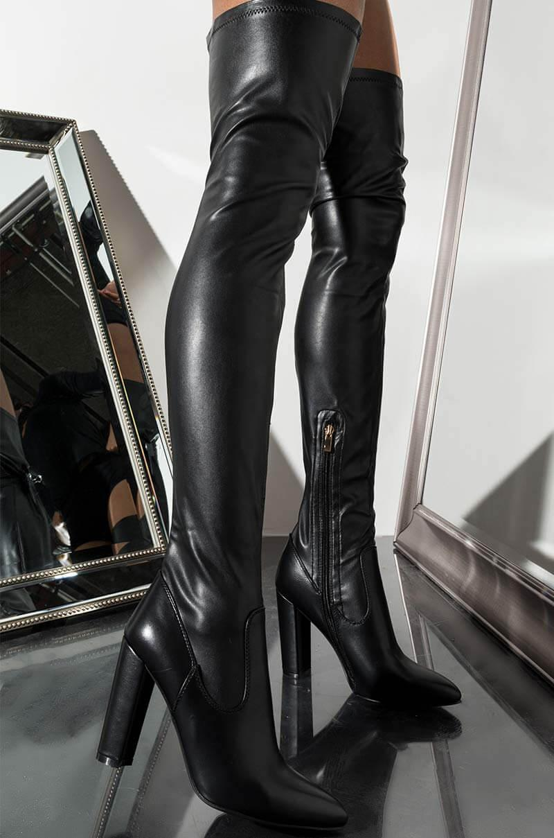 bbb69180180 Unk Azalea Wang Didn't They Tell You Thigh High Chy Heel Boot in ...