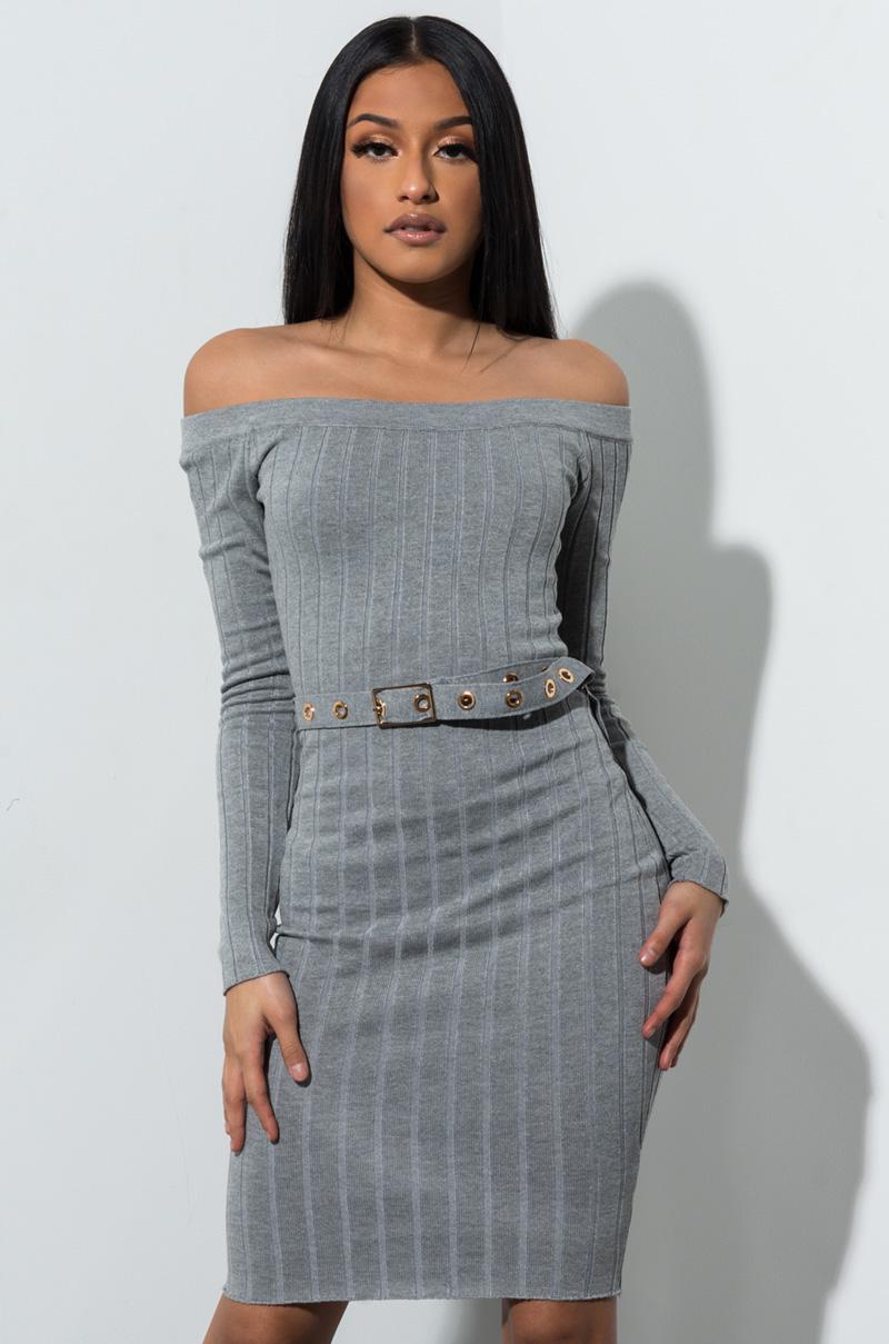 ff2c7940bcc5 Lyst - AKIRA Hard To Handle Off Shoulder Mini Dress in Gray