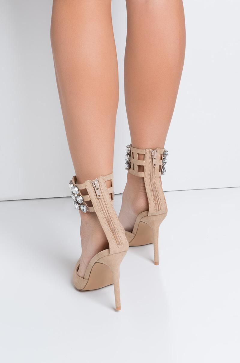 aa44f8260d Lyst - AKIRA Wow Rhinestone Ankle Strap Stiletto