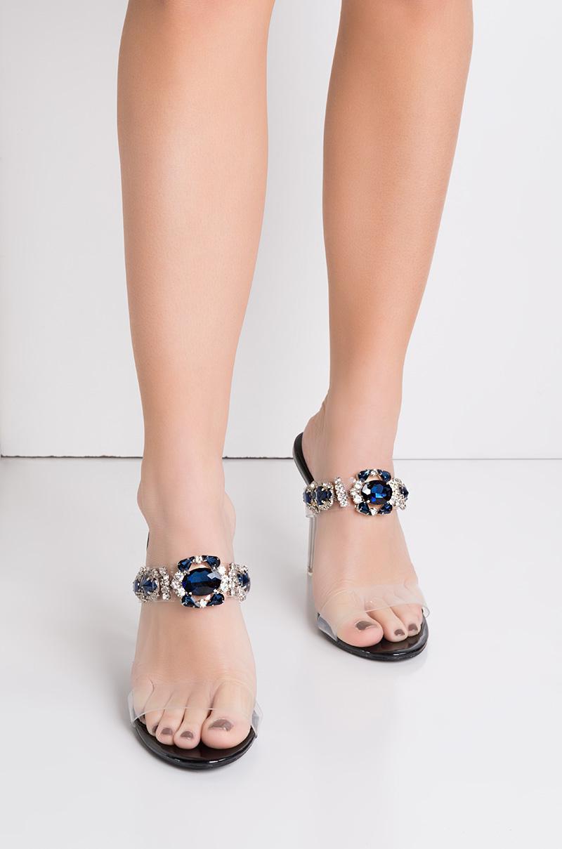 7dee752be2 Cape Robbin Got That Bling Open Toe Jeweled Heels in Black - Lyst