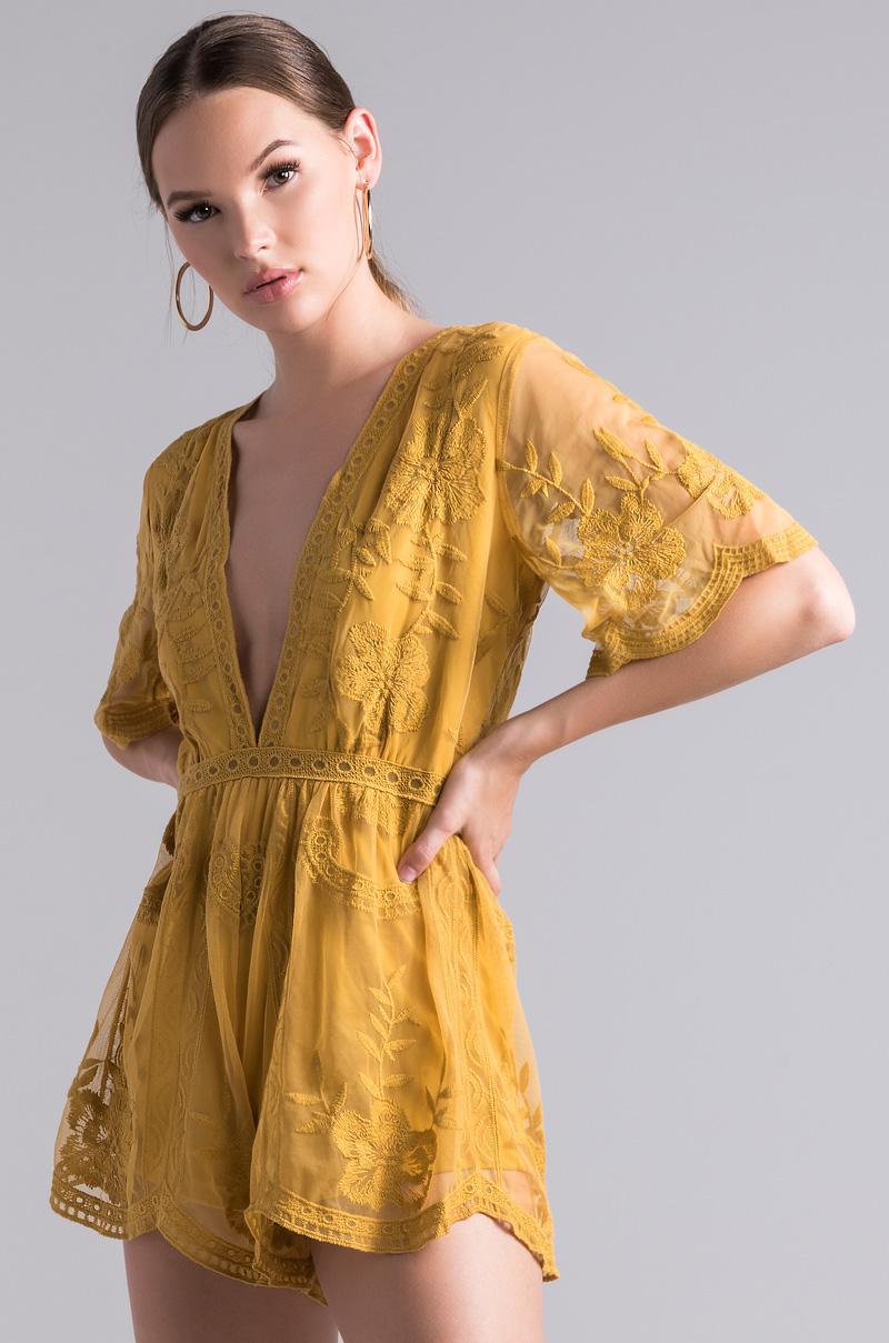0c5dd166472d Lyst - Akira My Own Way Darlin Romper in Yellow