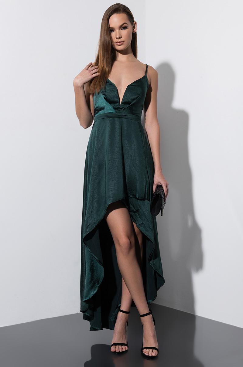 f5729316d16e Lyst - AKIRA Slip Into This Satin Hi Low Dress in Green