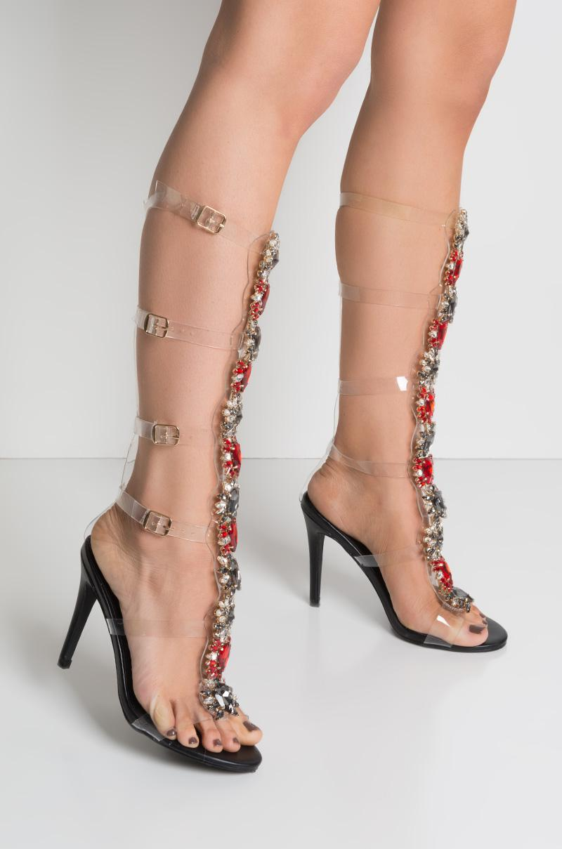 2153b2d3c1 AKIRA Do It For Me Jeweled Strappy Sandals in Black - Lyst