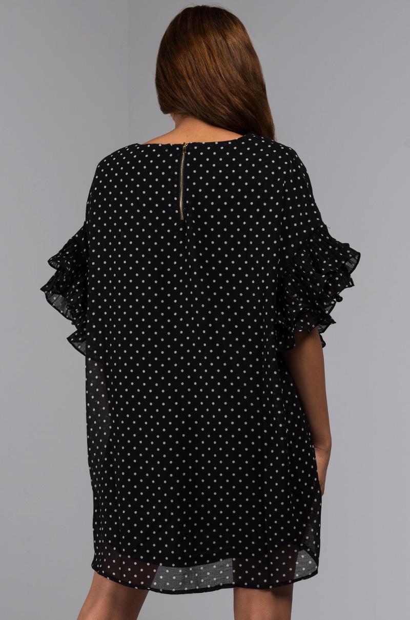 fff0b5f7992a Akira Brunch Down Pat Ruffle Sleeve Day Dress in Black - Lyst