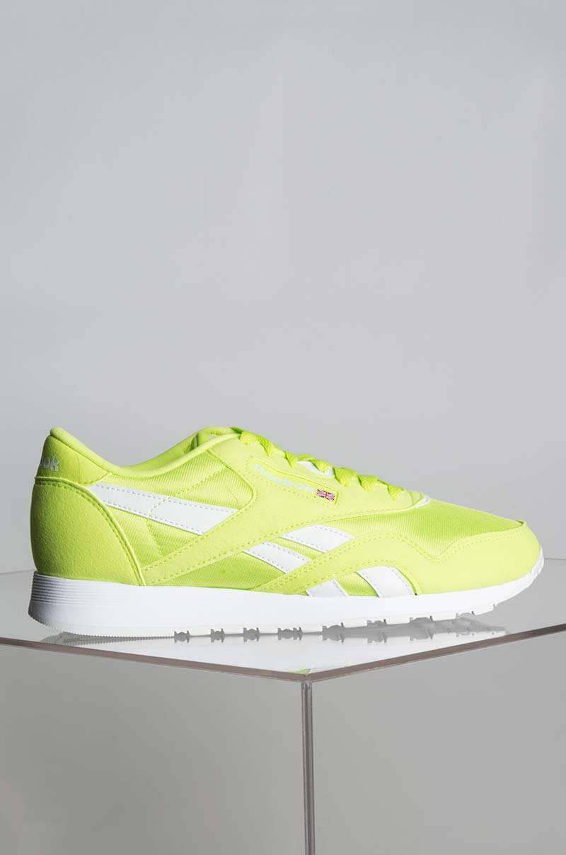 8a01ba8a706493 Lyst - Reebok Cl Nylon Neon Lime Sneaker in Yellow