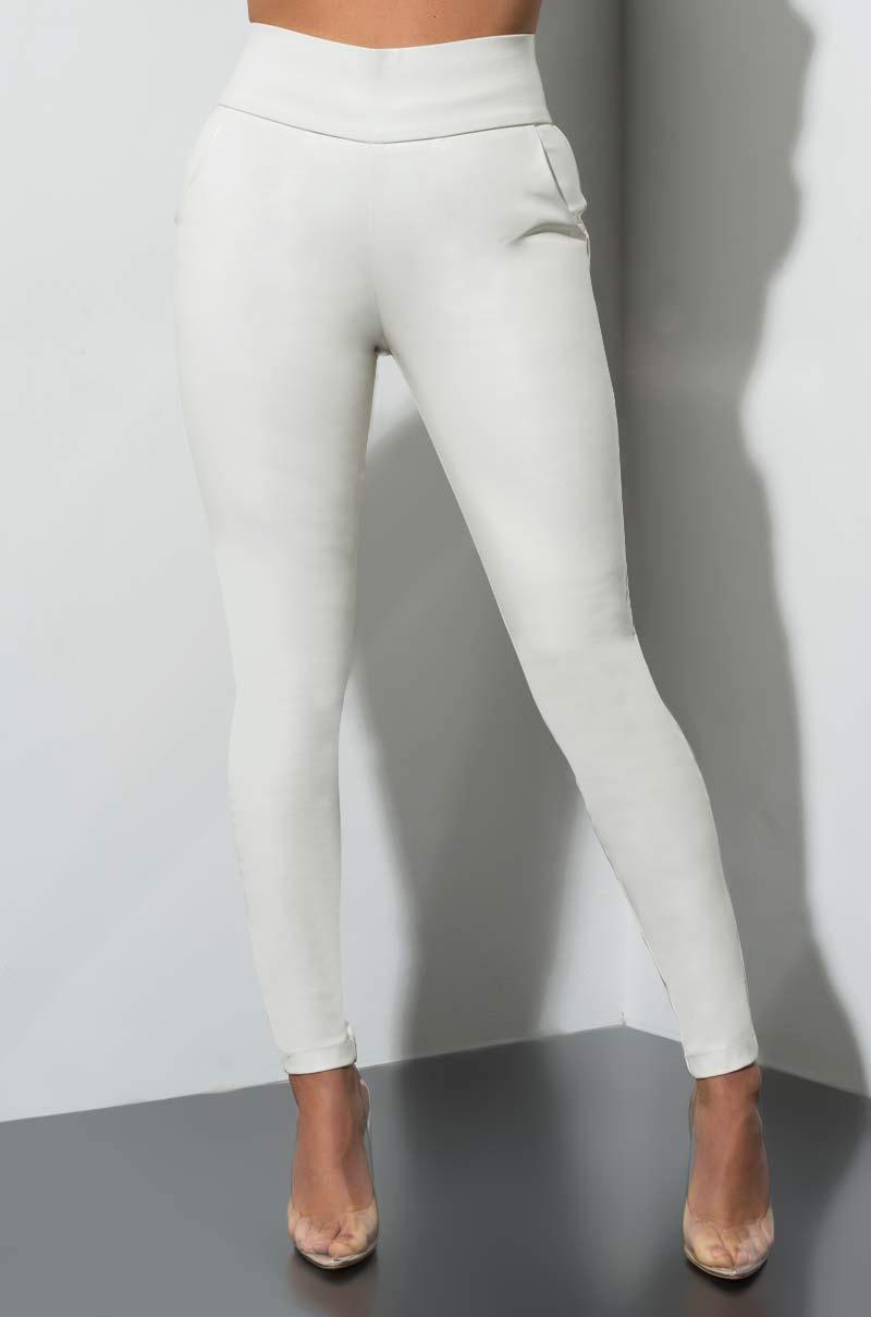 e411c75715b AKIRA Big Booty Pleather LEGGINGS in White - Lyst