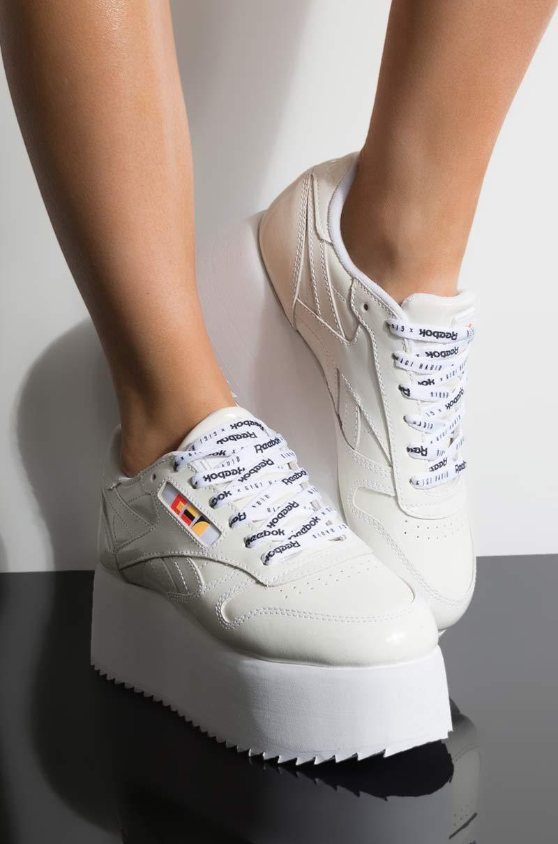 78bf6ef407abb Reebok - Gigi Hadid X Cl Leather Platform Sneaker In White Patent - Lyst.  View fullscreen