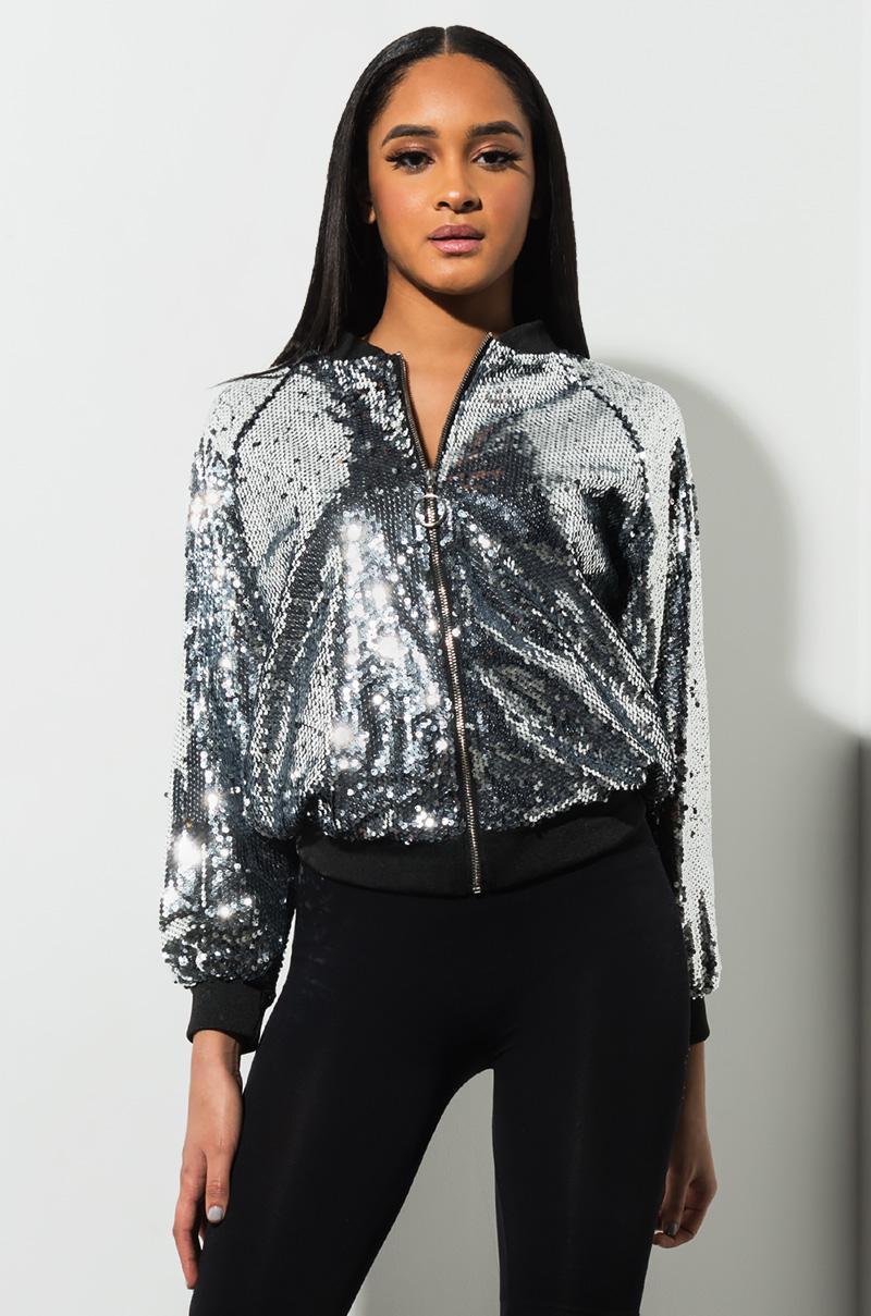 82039b5c AKIRA. Women's Supernova Sequin Zip Up Jacket