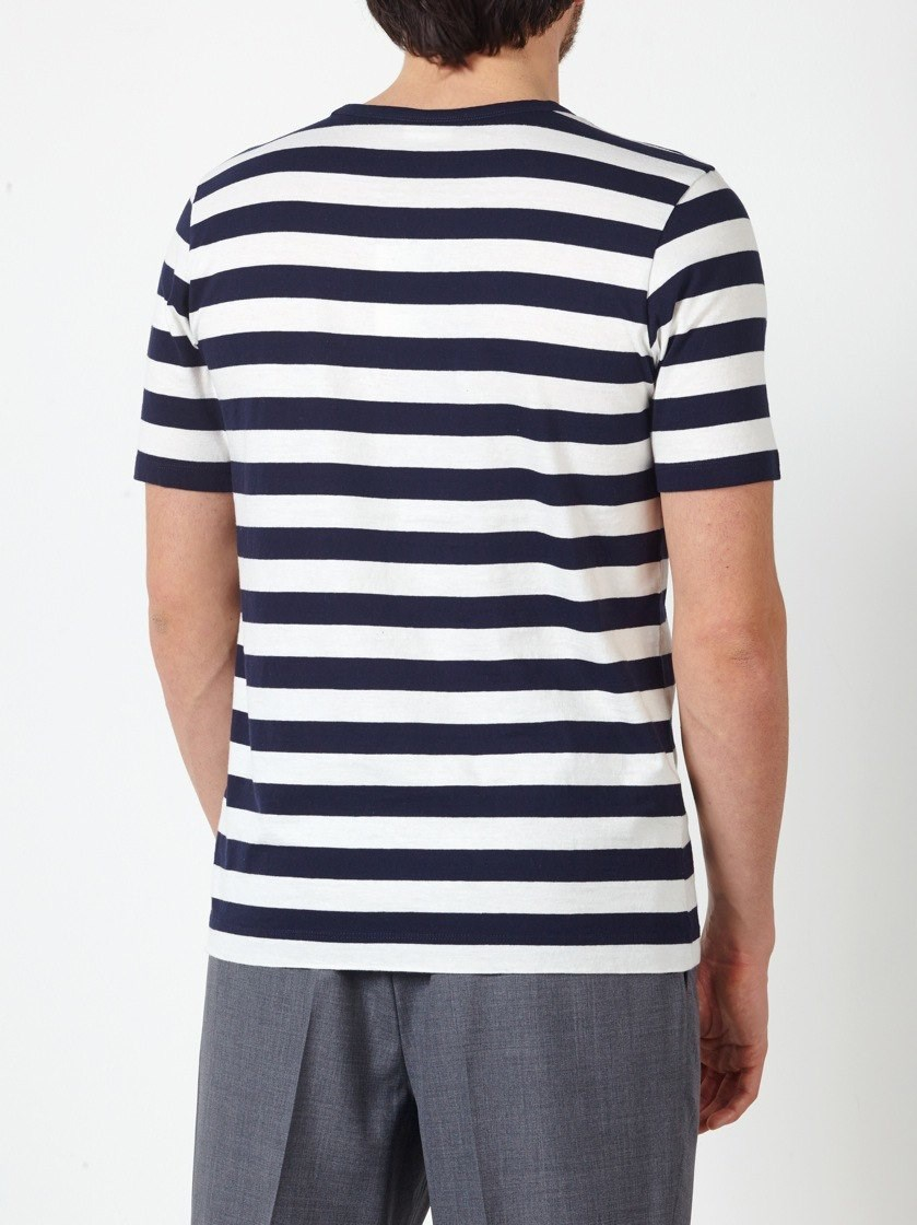 Dries van noten striped t shirt in blue for men lyst for Dries van noten mens shirt