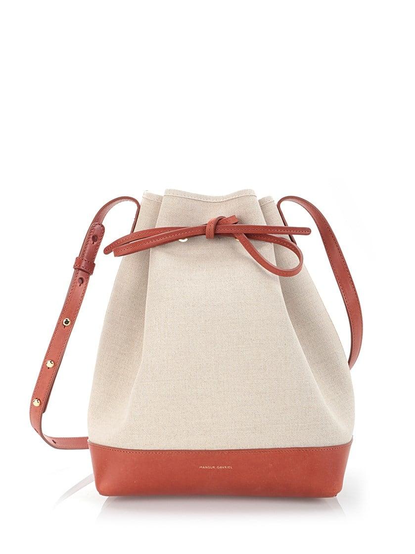 mansur gavriel canvas and leather 39 bucket 39 bag in brown lyst. Black Bedroom Furniture Sets. Home Design Ideas