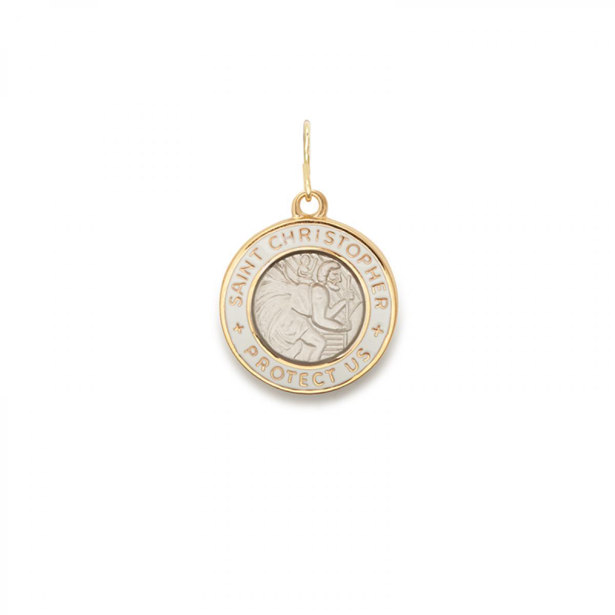b526c75c9a1 ALEX AND ANI. Women's Metallic White Enamel Saint Christopher Necklace Charm