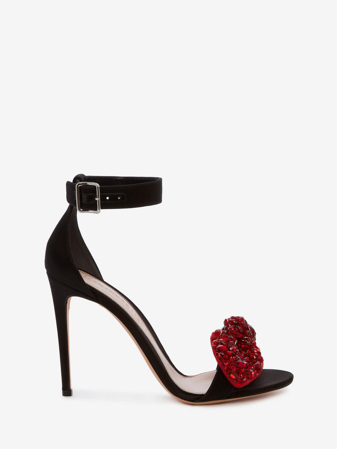 c51c69bed92 Lyst - Alexander McQueen Bow Embroidered Sandal in Black