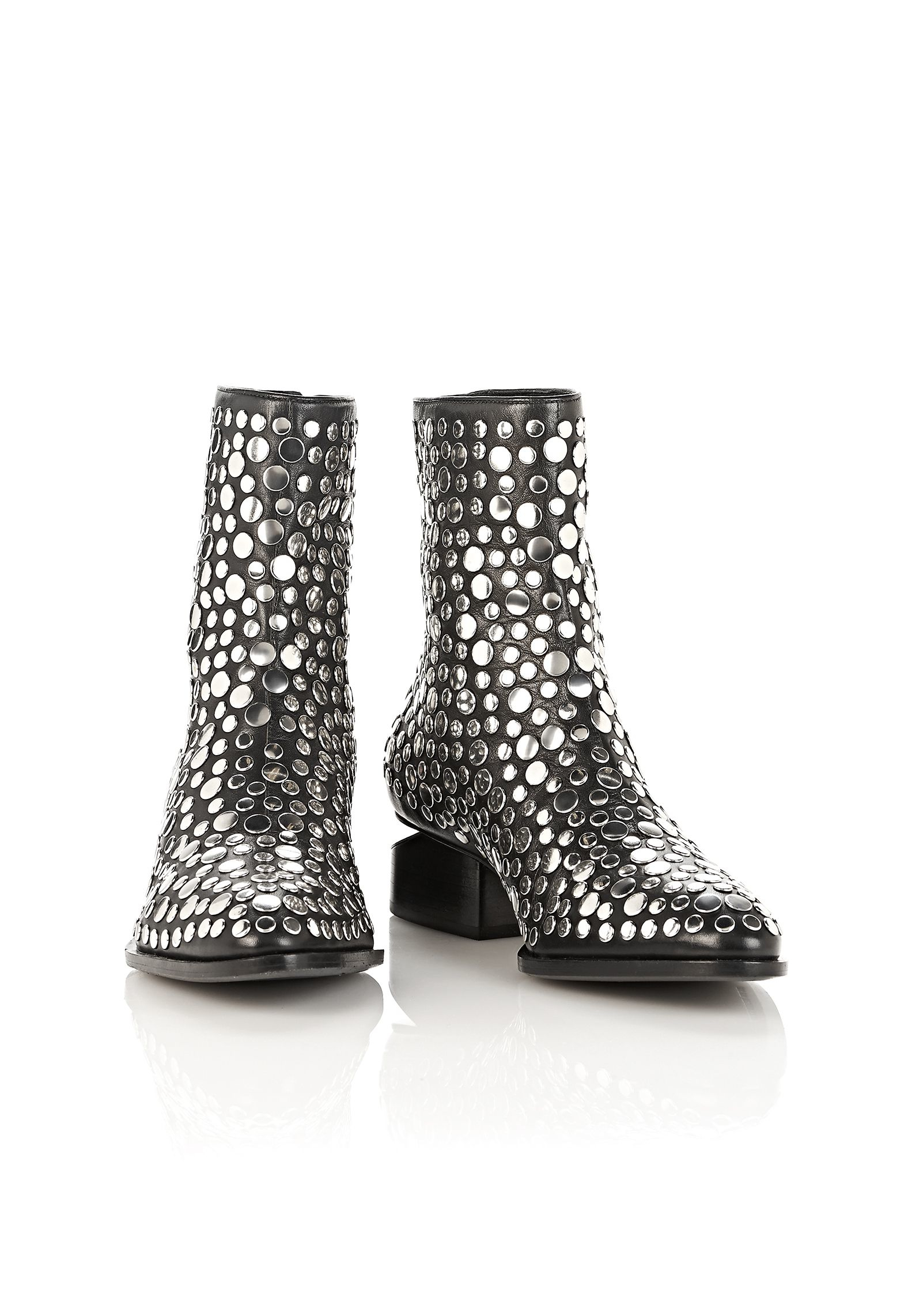Lyst Alexander Wang Studded Anouck Boot With Rhodium In