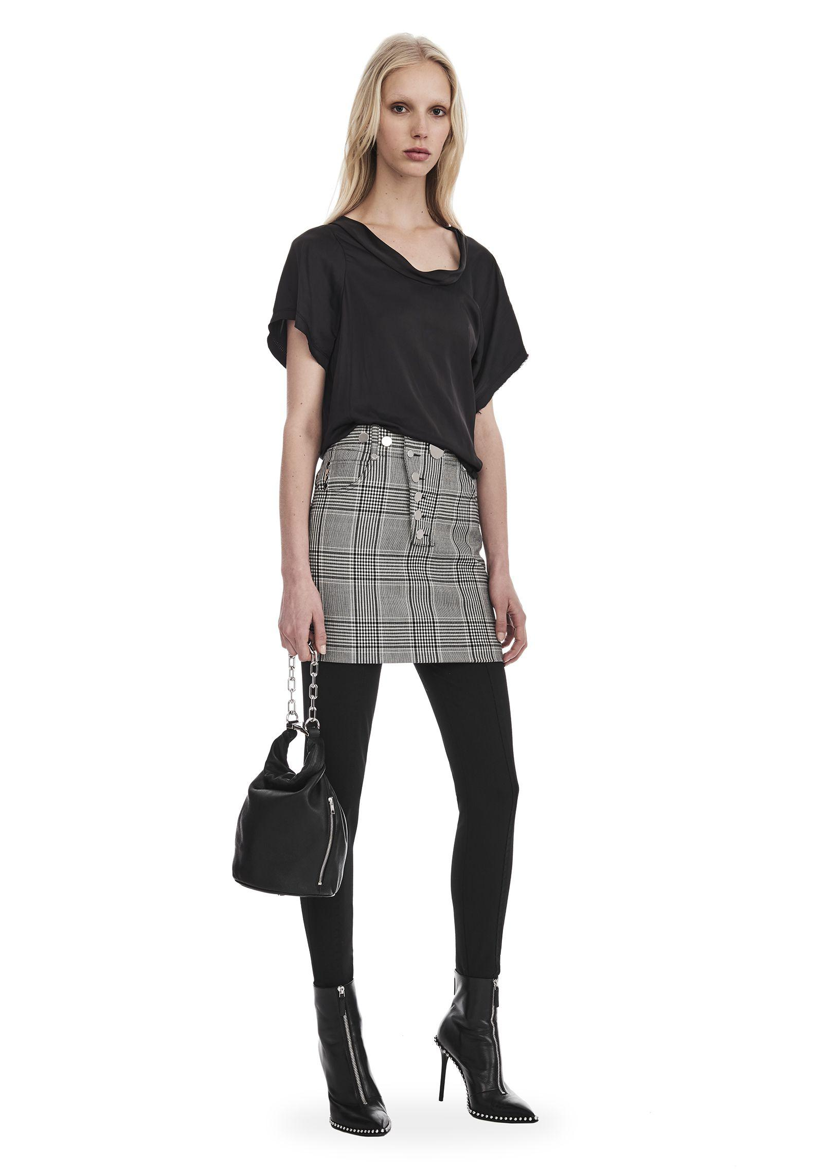 3e92c37397 Lyst - Alexander Wang Check Tailoring High Waisted Mini Skirt in Gray