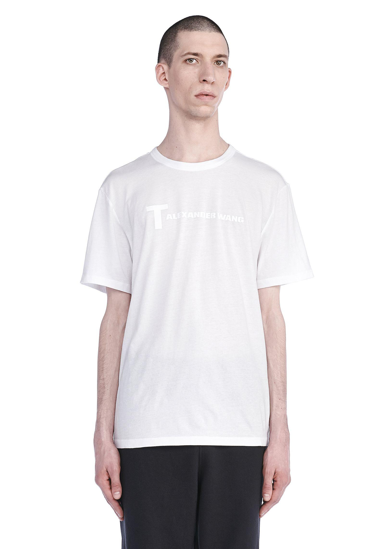 T By Alexander Wang Short Sleeve Tee With Logo In White