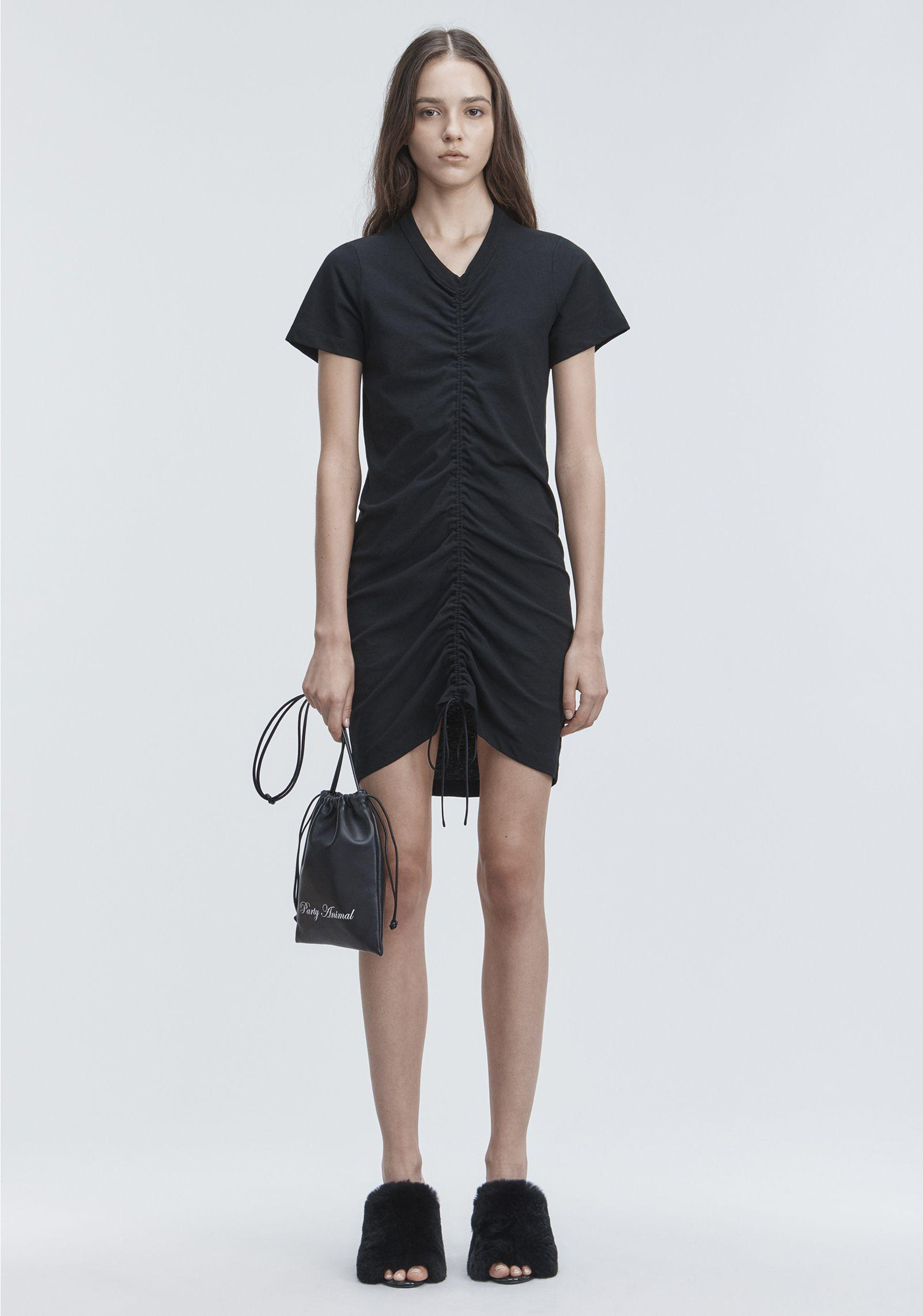 lyst t by alexander wang gathered front dress in black. Black Bedroom Furniture Sets. Home Design Ideas